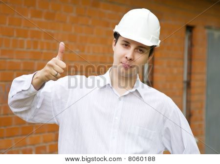 Happy Builder With  Thumbs Up