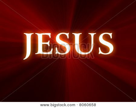 Glowing Jesus text on a red background with rays of light coming from the center. poster