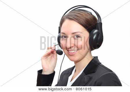 Telephone operator with headset