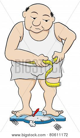 vector illustration of a overweight man measuring his waist circumference poster