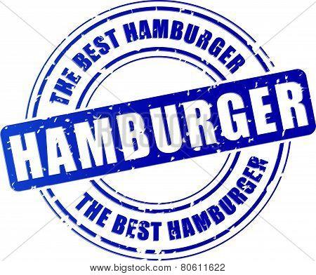 illustration of hamburger blue stamp design icon poster