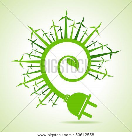 Ecology concept - Leaf and electric plug with wind mill stock vector