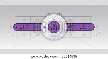 Digital air condition white dashboard design with dual ac and purple lcd poster