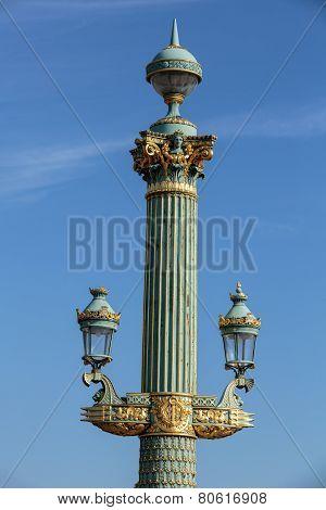 Streetlamp in the Place de la Concorde square Paris