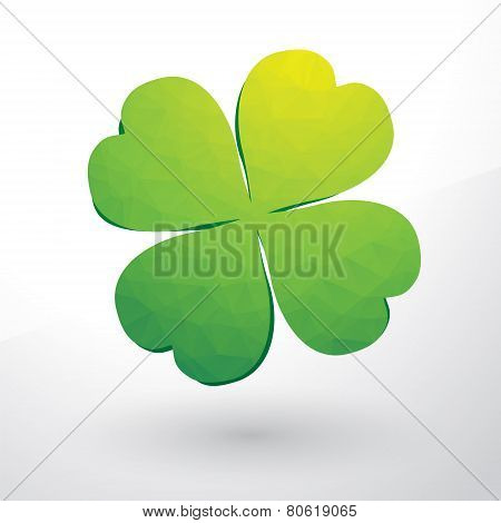 Beautiful Green Cloverleaf Composed Of Small Triangles