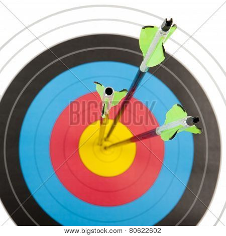 Archery Target With Arrows In Square Frame