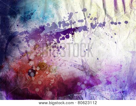 Abstract ink and acrylic painting on grunge paper background - mixed technique