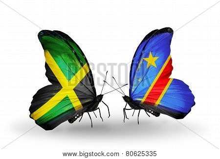Two Butterflies With Flags On Wings As Symbol Of Relations Jamaica And Kongo