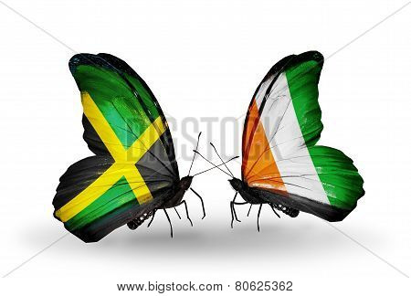 Two Butterflies With Flags On Wings As Symbol Of Relations Jamaica And Cote Divoire