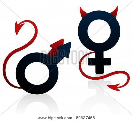 Bad Girl Bad Guy Devil Symbol