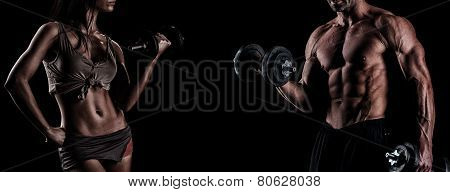 Strong Young Couple Working Out With Dumbbells. Shot In Studio On A Dark Background.
