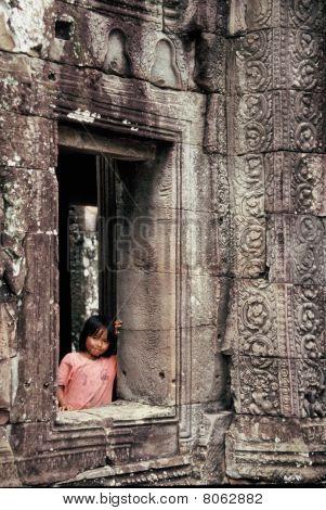 Girl at window, Angkor Wat, Cambodia