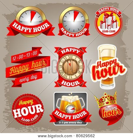 Set of happy hour labels for restaurant, bar, cafe and shops.