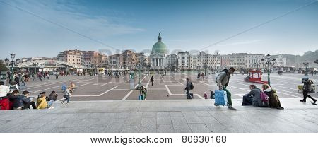 Venice, November 3, 2014: view of Venice from Santa Lucia Railway Station, looking at the Grand Canal and San Simeone Piccolo church cupola.