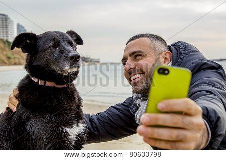 Grumpy Dog Taking Selfie