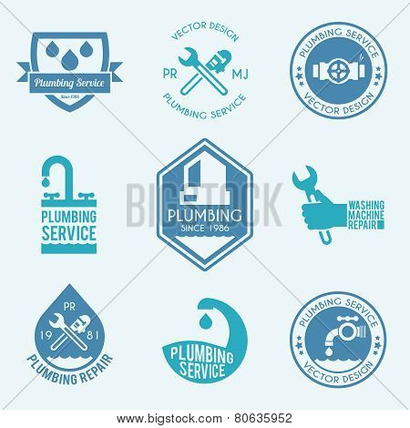 Plumbing labels icons set
