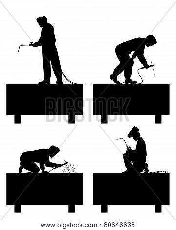 Welders Welding Pipe