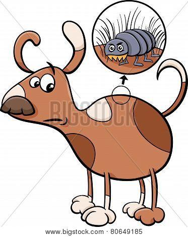 Dog And Flea Cartoon Illustration