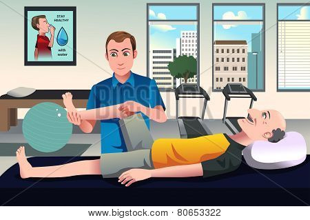 Physical Therapist Working On A Patient