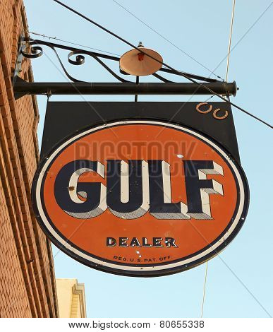 A Street Scene Of A Vintage Gulf Sign, Lowell, Arizona