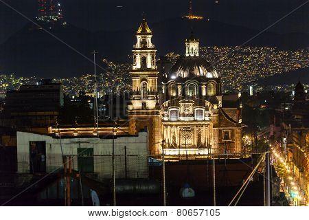 Plaza De Santa Domingo Chruches Zocalo Mexico City Christmas Night