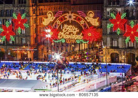 Mexico City Zocalo Christmas Night Ice Skating Rink