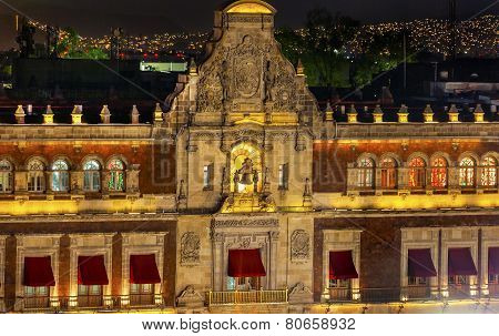 President's Palace Balcony Bell Zocalo Mexico City At Night