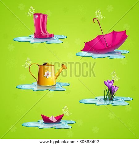 Spring Set Of Icons