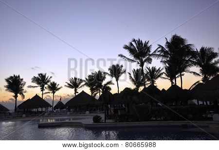 Evening on the bank of the Caribbean Sea.