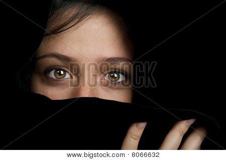 Beautiful frightened eyes of a woman.