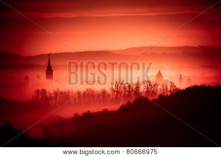 Red Foggy Dawn In Town Of Krizevci