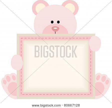 Cute teddy bear holding blank sign for baby girl announcement