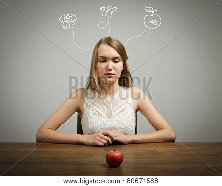 Girl In White And Apple.