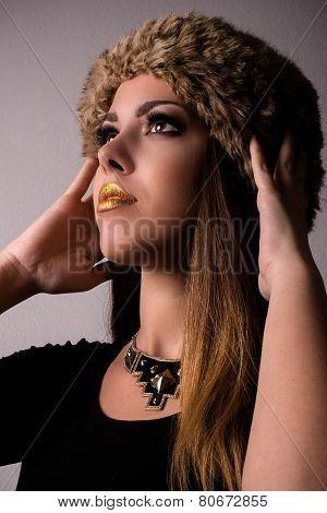 Attractive Woman In Trendy Fashion