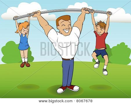 father of a family playing sports with children