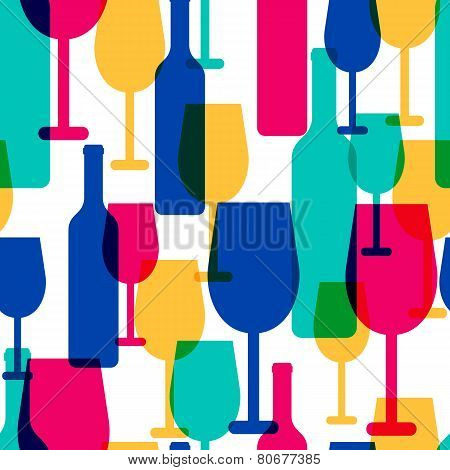 Abstract Colorful Cocktail Glass And Wine Bottle Seamless Pattern. Concept For Bar Menu,