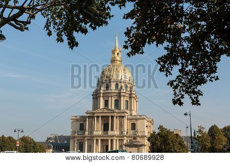 View of Dome des Invalides burial site of Napoleon Bonaparte Paris France poster