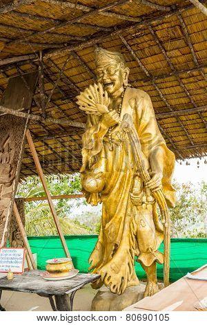 Statue Near Big Buddha Monument, Phuket, Thailand. Thai Style Statues Acting Wai (or Sawasdee)