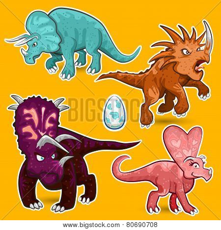 Triceratops Rhino Dinosaurs Sticker Collection Set