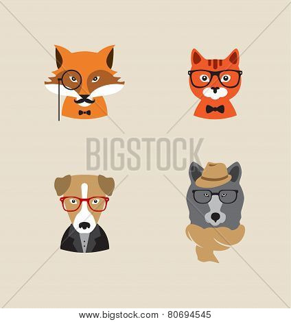 Hipster Animals set of vector icons. Fox , cat, dog , bear