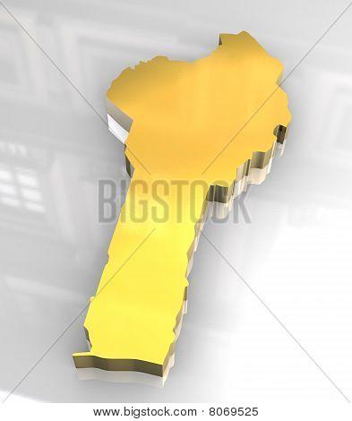 3D Golden Map Of Benin