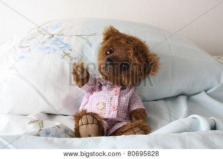 Cute Brown Teddy Bear In Pajamas In The Bed