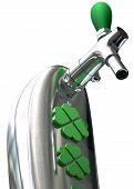 A green irish themed chrome draught beer tap with four-leaf clover symbols on it symbolising st patricks day on an isolated white background poster