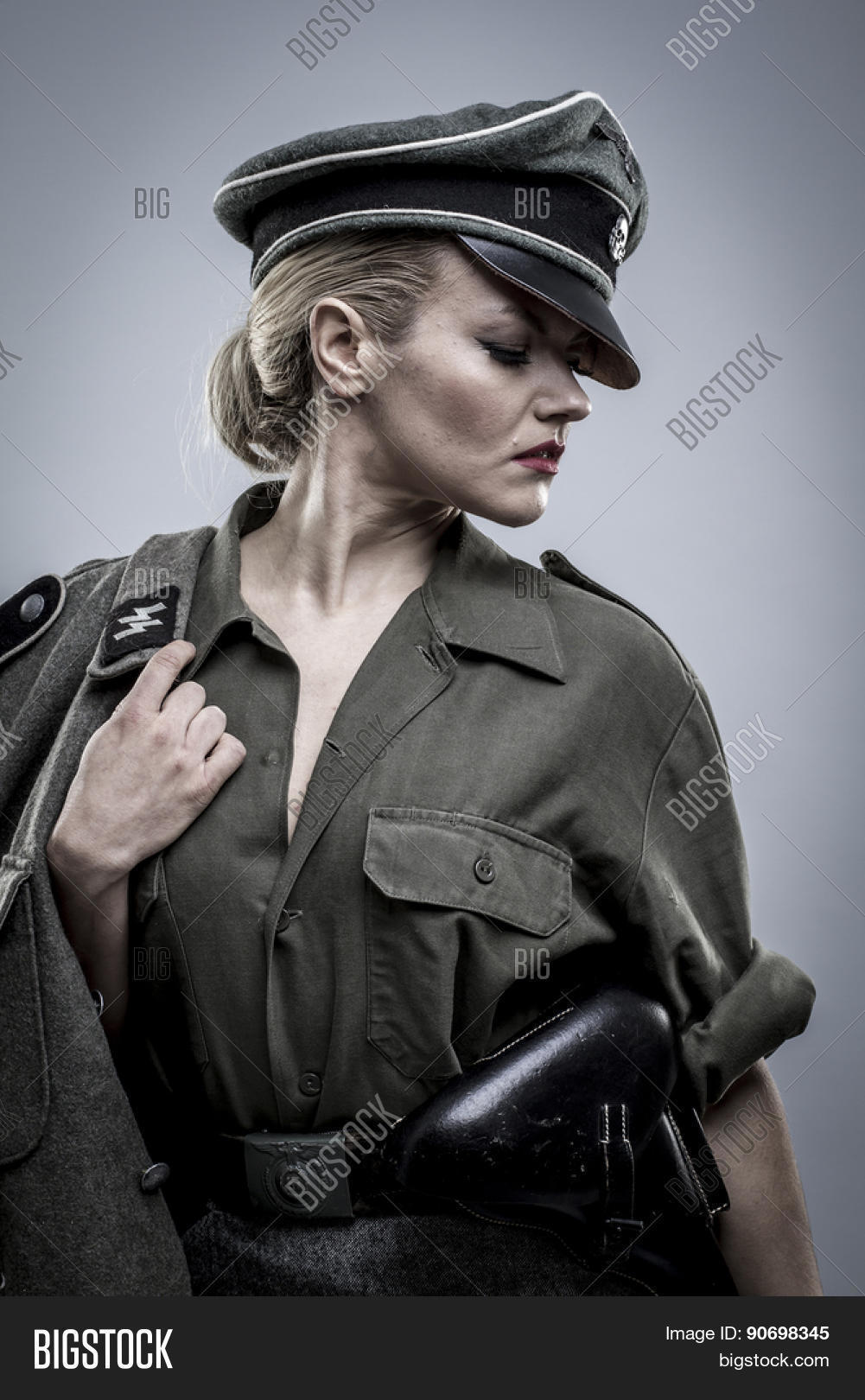 image Blond female officer make a mistake