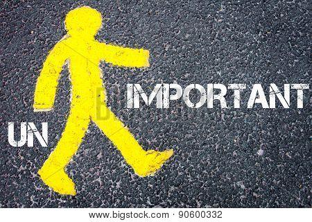 Yellow Pedestrian Figure Walking Towards Important
