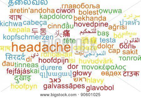 Background concept wordcloud multilanguage international many language illustration of headache