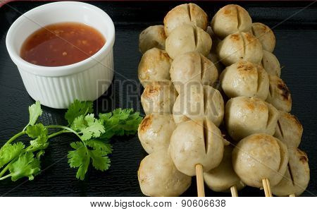 Delicious Barbecue Meat Ball On Bamboo Skewer