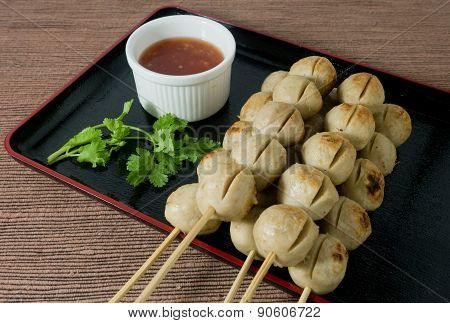 Delicious Grilled Meat Ball On Bamboo Skewer