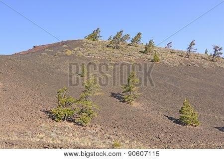 Barren Landscape on a Volcanic Cinder Cone in Craters of the Moon National Monument in Idaho poster