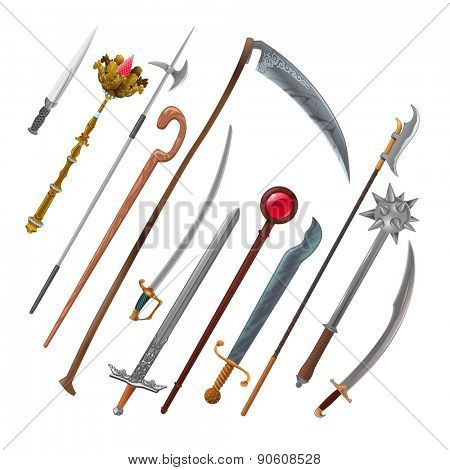 Set of different weapons. Vector isolated objects